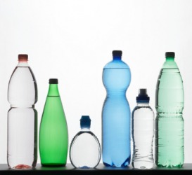 Bottles of different sizes and shapes.