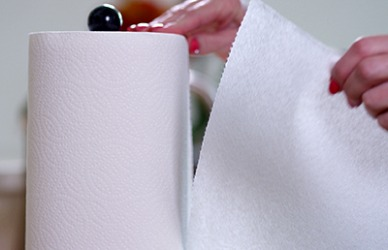 There are separations on a roll of paper towels which makes it easy to tear off one piece at a time.