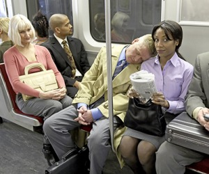 Neil felt shame when he woke up and realized he had been sleeping on a passenger's shoulder on the subway train.
