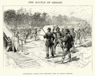 The Battle of Shiloh in southwestern Tennessee during the American Civil War. (1862)
