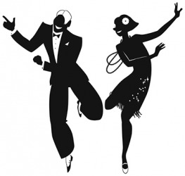 A couple dancing the shimmy from the 1920's.