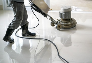 The floor was buffed and polished to a high shine.