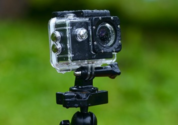 The action camera is shockproof and waterproof.