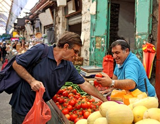 The shopper greeted the produce vendor by saying,