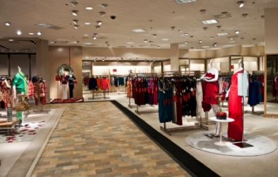 The interior of a women's clothing boutique.