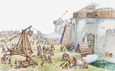 A medieval castle under siege by the enemy.