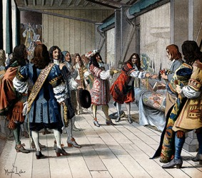 Louis XIV of France was addressed as sieur by the people in the room.