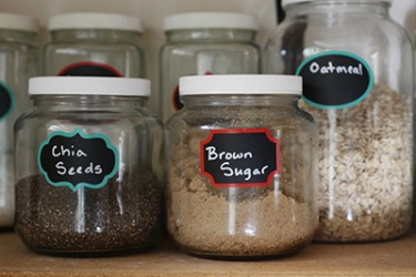 A good way to simplify your morning routine is to organize your breakfast ingredients together on one shelf.