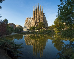 The Sagrada Familia has a singular style and is the most popular tourist attraction in Barcelona, Spain.
