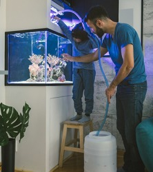 Devon helped his father siphon the water from the fish tank into the container.