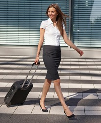 A pencil skirt is a good choice for a professional looking business outfit.