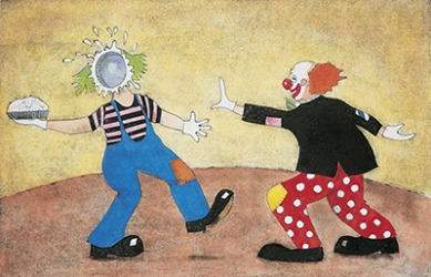Clown acts often involve slapstick humor such as throwing pies in each others faces.