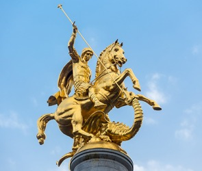 A statue of St. George slaying the dragon in Tbilisi, Georgia.