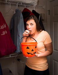 Katrina's son's Halloween candy was too tempting to resist and forced her to slip up on her diet.