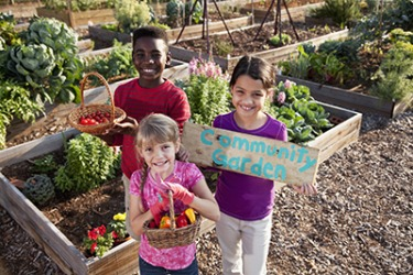 A fun way to teach children about slow food is to start a community garden.