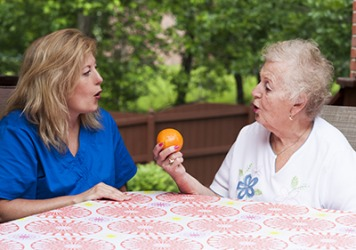 Margaret would slur words as a result of her stroke, so she practices with a speech therapist twice a week.