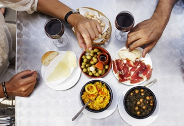 The small plates at the tapas restaurant are ideal for sampling and sharing.