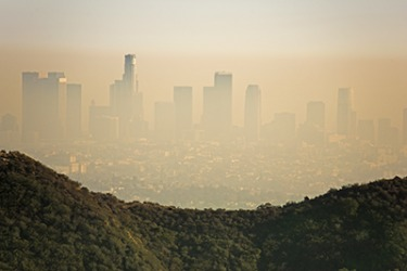 The sea to mountain high-pressure systems can trap the smog in the city of Los Angeles in California.