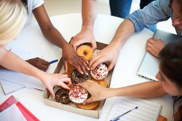 Everyone snatched their favorite doughnut at the start of the meeting.
