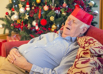 Grandpa started to snore when he fell asleep on the couch after Christmas dinner.