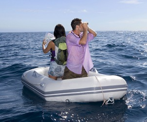 The irony was that the couple stranded at sea were surrounded by water but had nothing to drink.