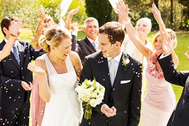 The exuberance of the bride and groom on their wedding day showed the depth of their love for each other.
