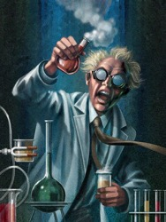 The demented scientist created a formula to turn his control subject into a monster.