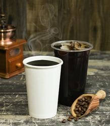 The cup of hot coffee has more thermal energy than the cup of iced coffee.