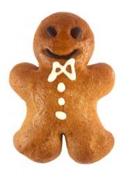 A golden brown gingerbread man.