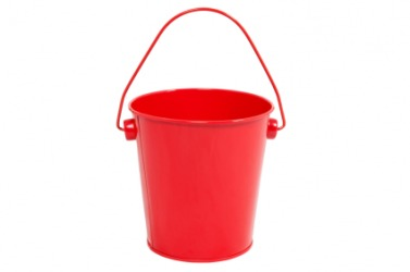 A bright red bucket.