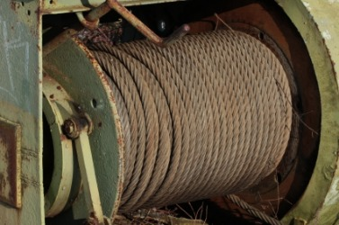 A roll of steel cable.