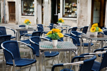 A sidewalk cafe in Venice.