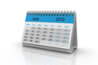 A desktop calendar showing the month of June.
