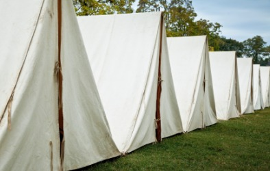 Tents in a re-enactment of a Revolutionary War soldiers camp.
