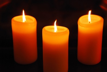Three orange candles.