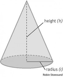 cone The equation for determining the volume (V) of a cone is V = 1/3πr2h.