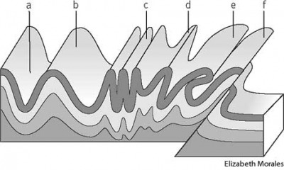 fold types of folds: a. anticline, b. syncline, c. isocline, d. overturned, e. recumbent, f. overthrust