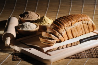 Bread is a source of carbohydrates.