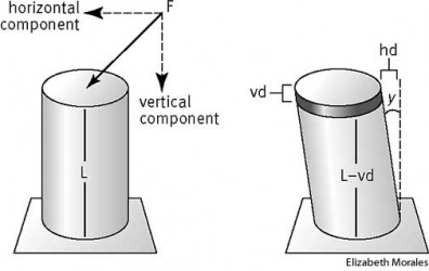strain The vertical component of the force F applied to the metal rod causes a vertical deformation of the rod, or axial strain, shown as vd in the diagram on the right.  The horizontal component of F causes a horizontal skewing, or shear strain, shown by
