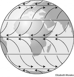 wind Global wind patterns are determined by differences in atmospheric pressure resulting from the uneven heating of the Earth's surface by the Sun. As air is heated along the equator it rises, creating a zone of low pressure that draws air toward it thro