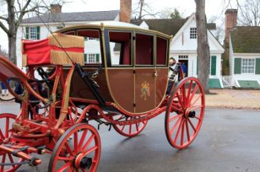 An antique horse-drawn carriage.