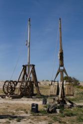 Two examples of medieval catapults.