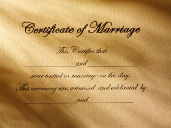 A certificate of marriage.