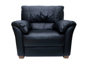 A black leather chair.