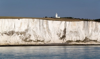 Chalk cliffs in England.