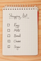 A shopping list is a checklist for going to the store.