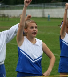 A young cheerleader at work.