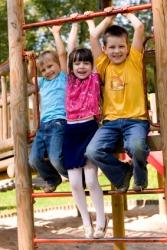 Happy children on a playground.