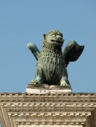 A sculpture of a chimera on the Piazetta in Venice.