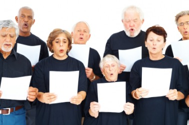 A group of singers at choir practice.